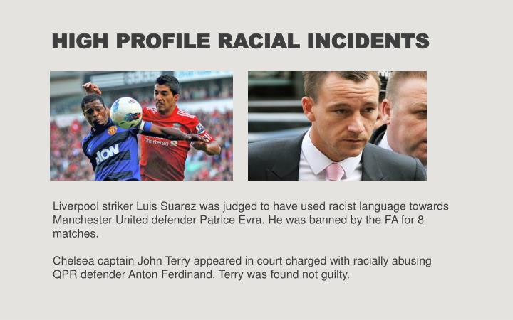 HIGH PROFILE RACIAL INCIDENTS