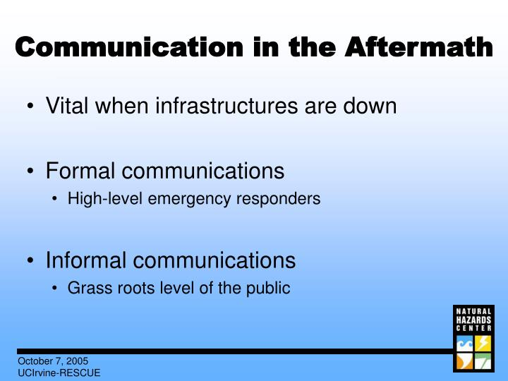 Communication in the Aftermath