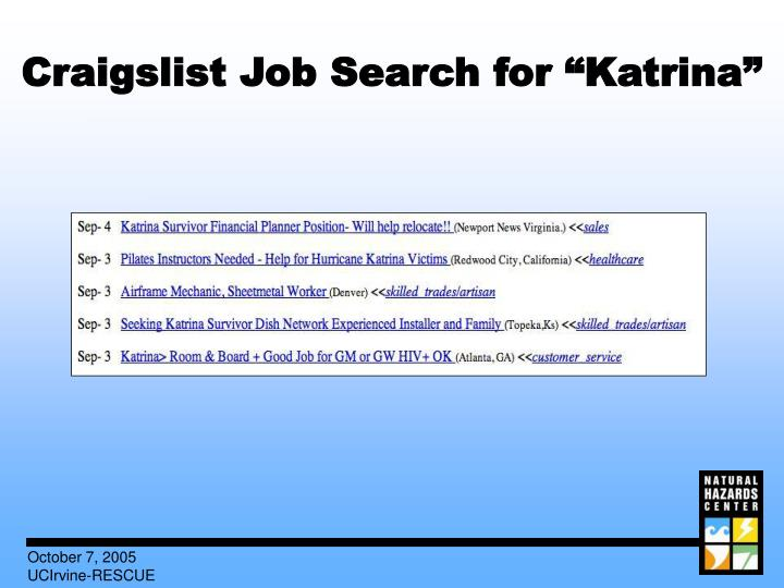 "Craigslist Job Search for ""Katrina"""