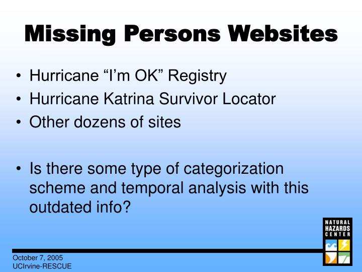 Missing Persons Websites