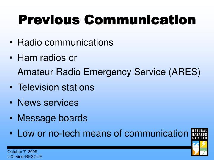 Previous Communication