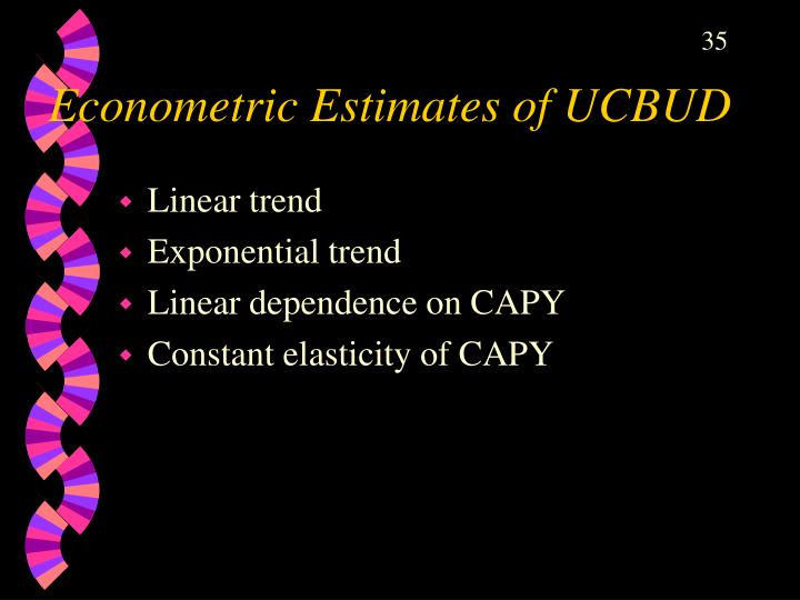 Econometric Estimates of UCBUD