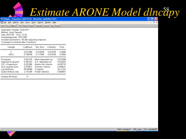 Estimate ARONE Model dlncapy