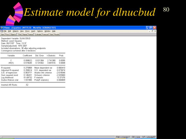 Estimate model for dlnucbud