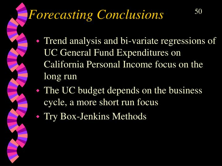 Forecasting Conclusions