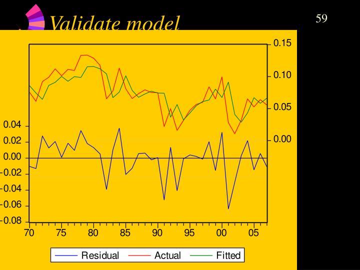 Validate model