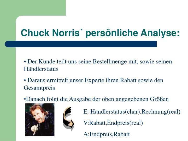 Chuck Norris´ persönliche Analyse: