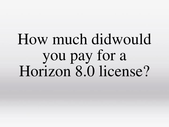 How much didwould you pay for a Horizon 8.0 license?