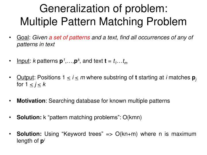 Generalization of problem: