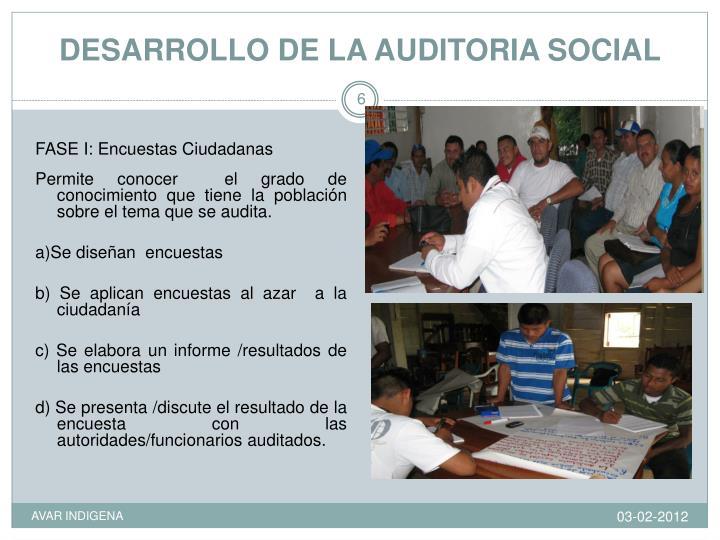 DESARROLLO DE LA AUDITORIA SOCIAL