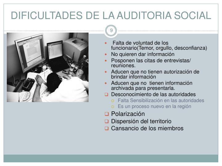 DIFICULTADES DE LA AUDITORIA SOCIAL