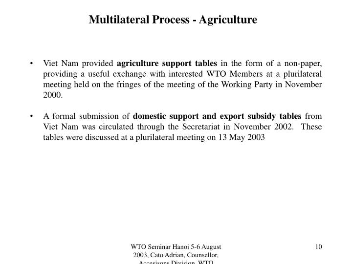 Multilateral Process - Agriculture