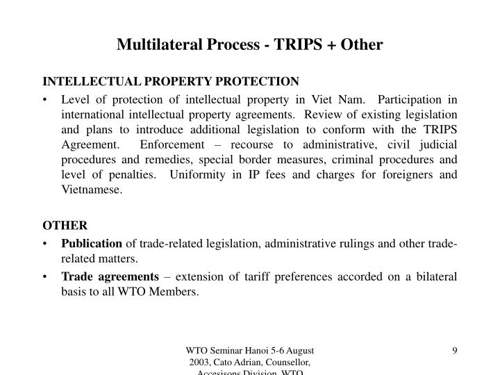 Multilateral Process - TRIPS + Other