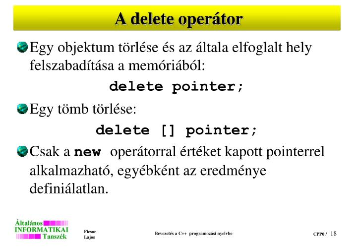 A delete operátor