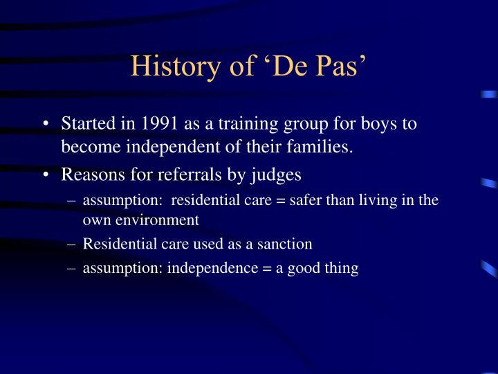 History of 'De Pas'