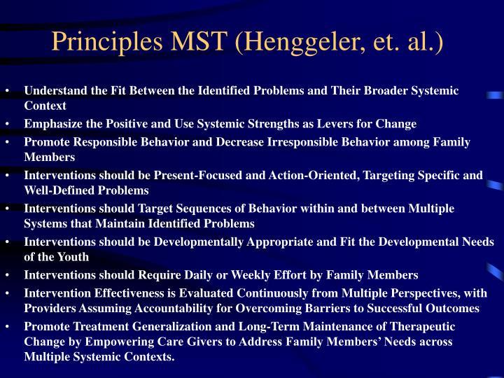 Principles MST (Henggeler, et. al.)