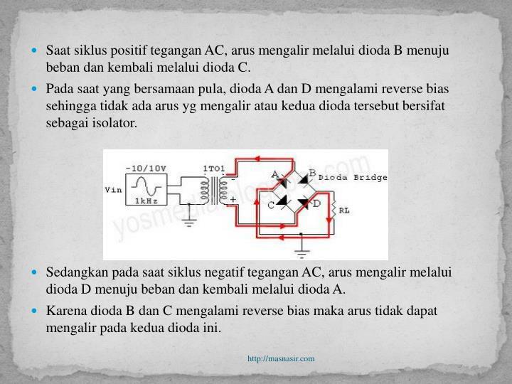 Saat siklus positif tegangan AC, arus mengalir melalui dioda B menuju beban dan kembali melalui dioda C.