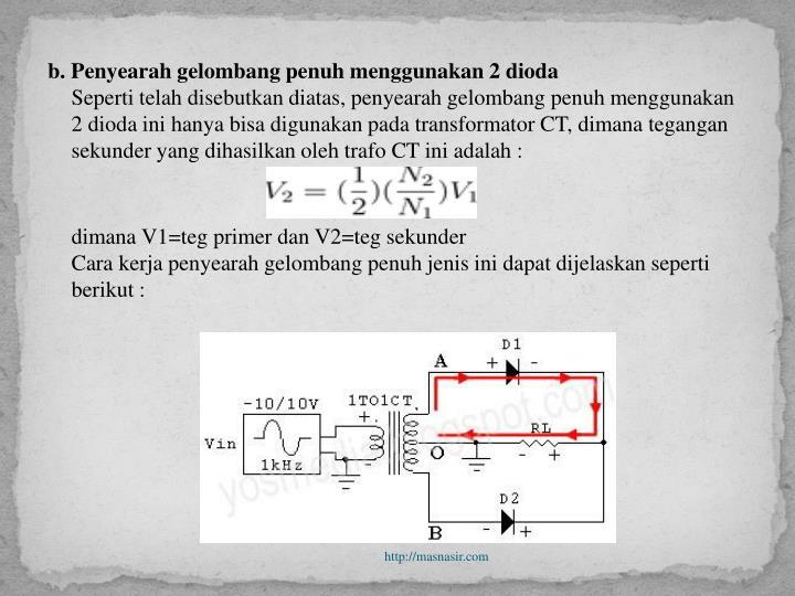 b. Penyearah gelombang penuh menggunakan 2 dioda