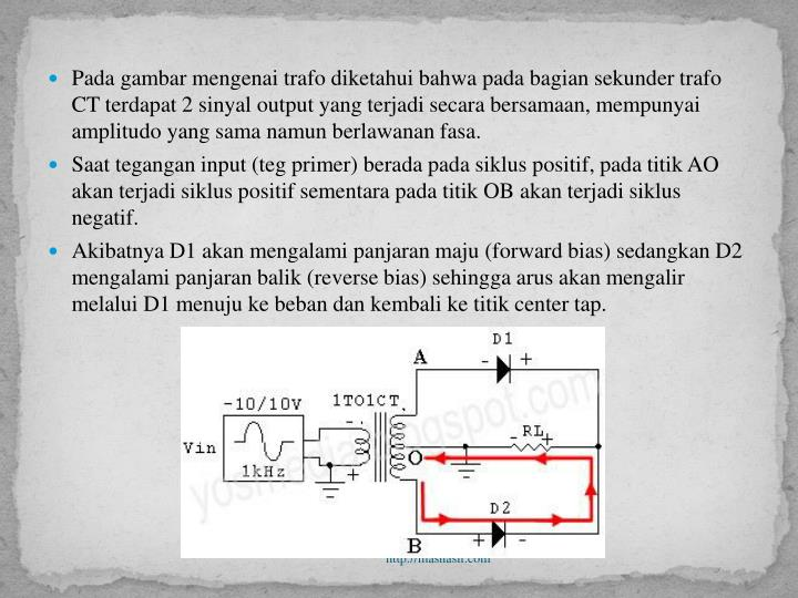 Pada gambar mengenai trafo diketahui bahwa pada bagian sekunder trafo CT terdapat 2 sinyal output yang terjadi secara bersamaan, mempunyai amplitudo yang sama namun berlawanan fasa.