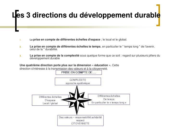 Les 3 directions du développement durable