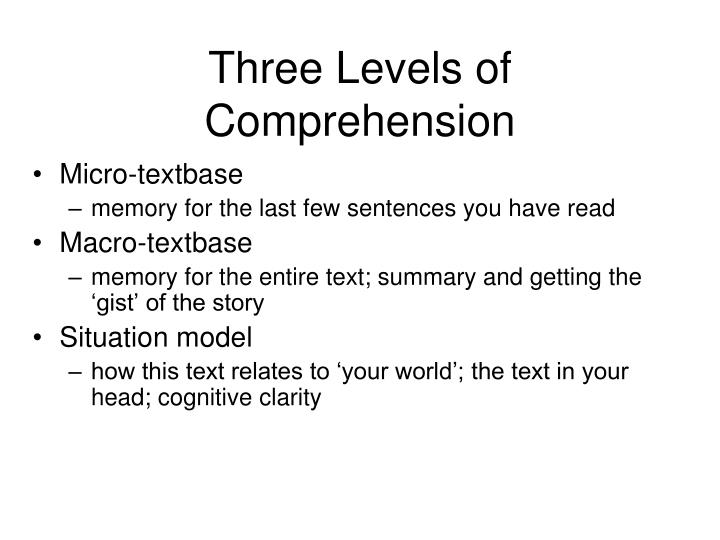 Three Levels of Comprehension