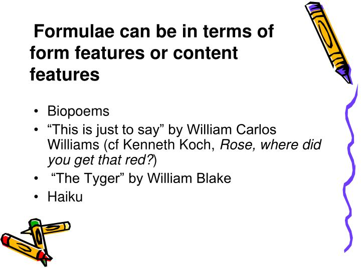 Formulae can be in terms of form features or content features