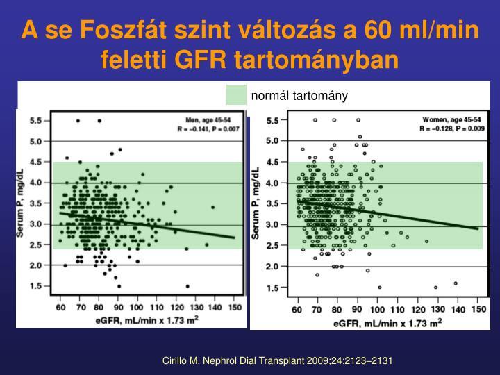 A se Foszfát szint változás a 60 ml/min feletti GFR tartományban