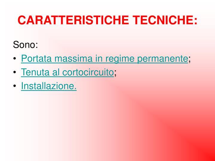 CARATTERISTICHE TECNICHE: