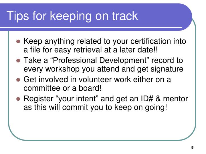 Tips for keeping on track