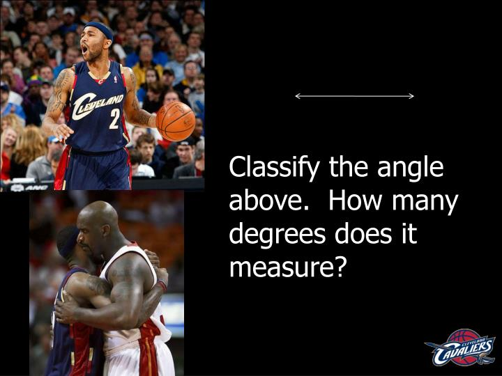 Classify the angle above.  How many degrees does it measure?