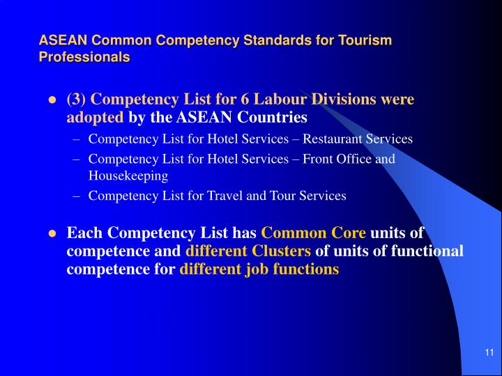 ASEAN Common Competency Standards for Tourism Professionals