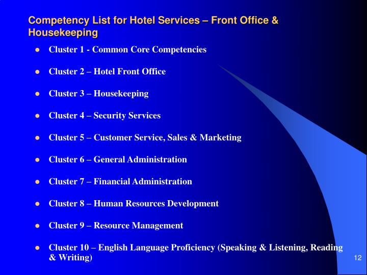 Competency List for Hotel Services – Front Office & Housekeeping