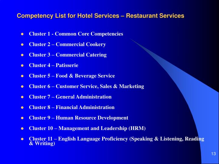 Competency List for Hotel Services – Restaurant Services