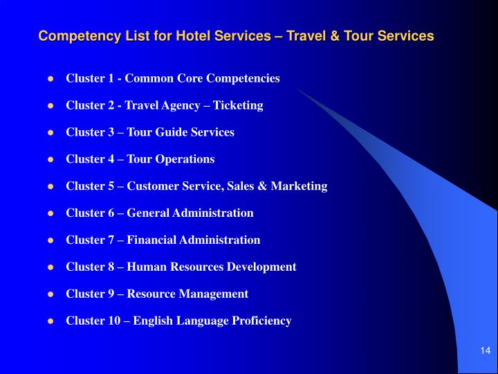 Competency List for Hotel Services – Travel & Tour Services
