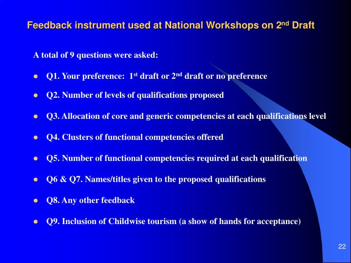 Feedback instrument used at National Workshops on 2