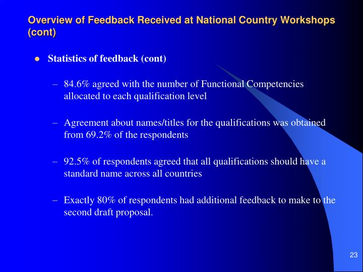 Overview of Feedback Received at National Country Workshops (cont)