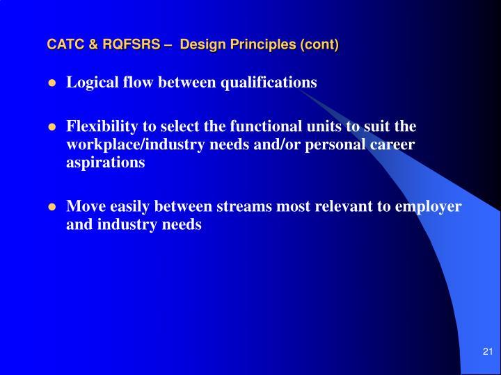 CATC & RQFSRS –  Design Principles (cont)