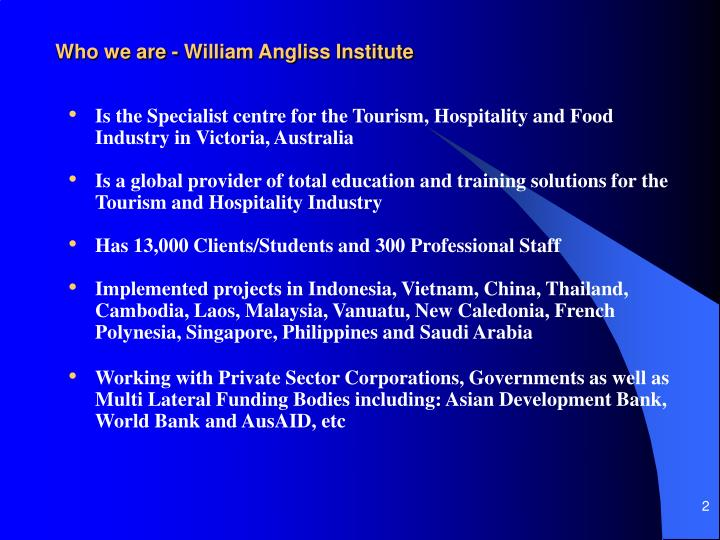 Who we are - William Angliss Institute