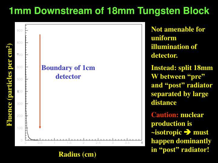 1mm Downstream of 18mm Tungsten Block