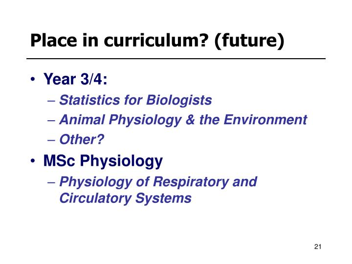 Place in curriculum? (future)
