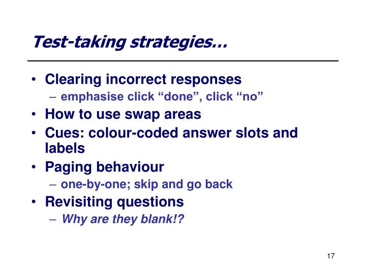 Test-taking strategies…