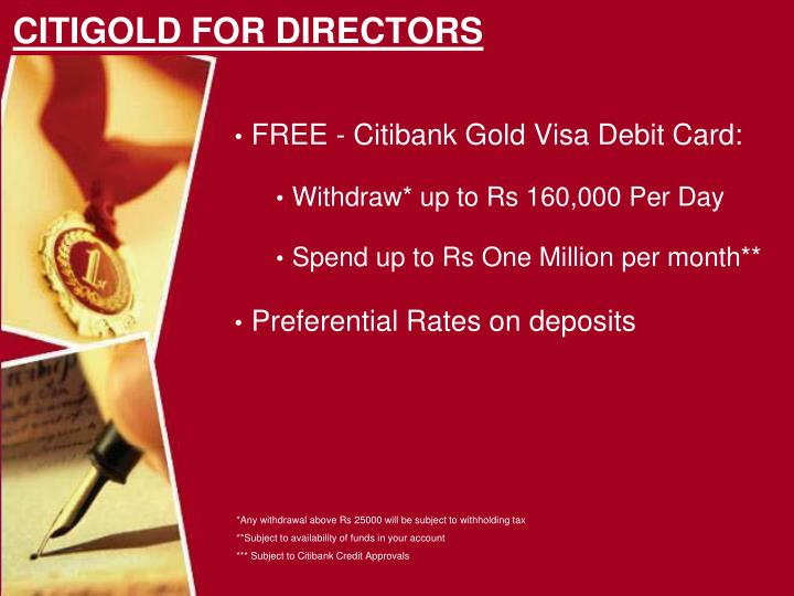 FREE - Citibank Gold Visa Debit Card: