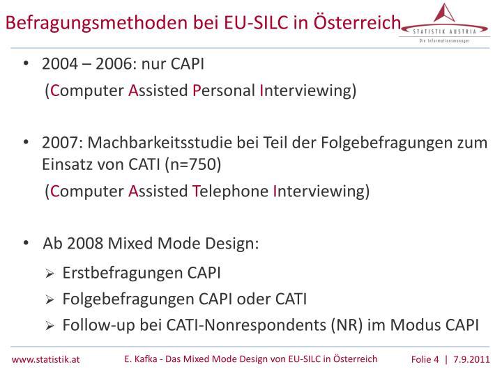 Befragungsmethoden bei EU-SILC in Österreich