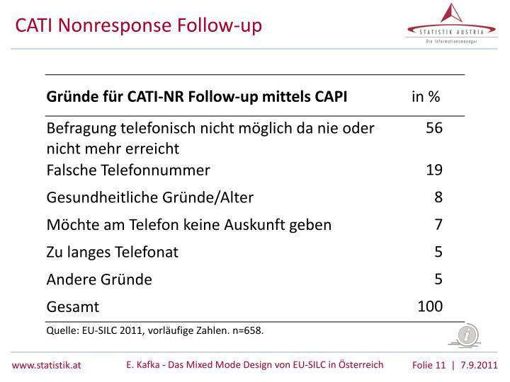 CATI Nonresponse Follow-up