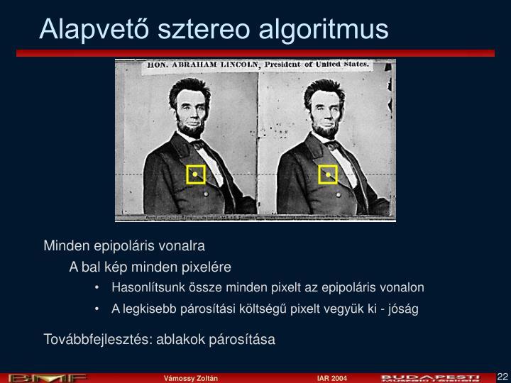 Alapvető sztereo algoritmus