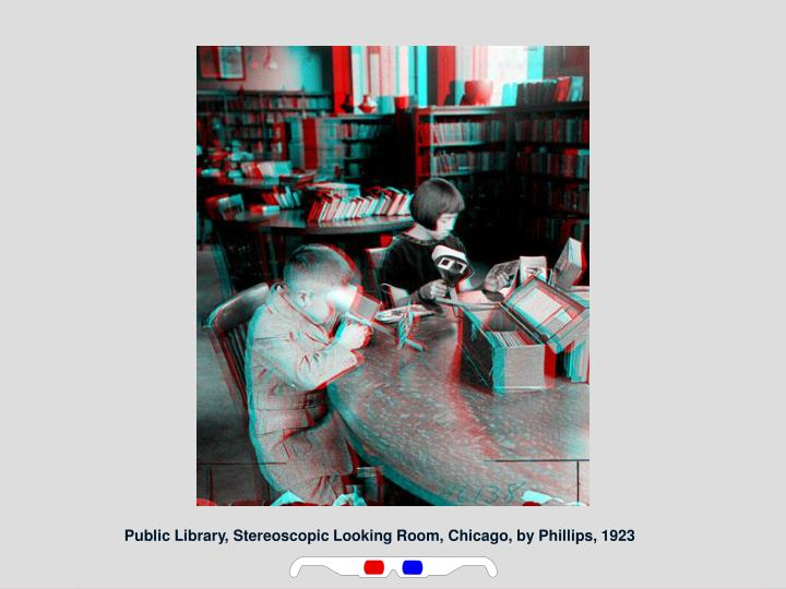 Public Library, Stereoscopic Looking Room, Chicago, by Phillips, 1923