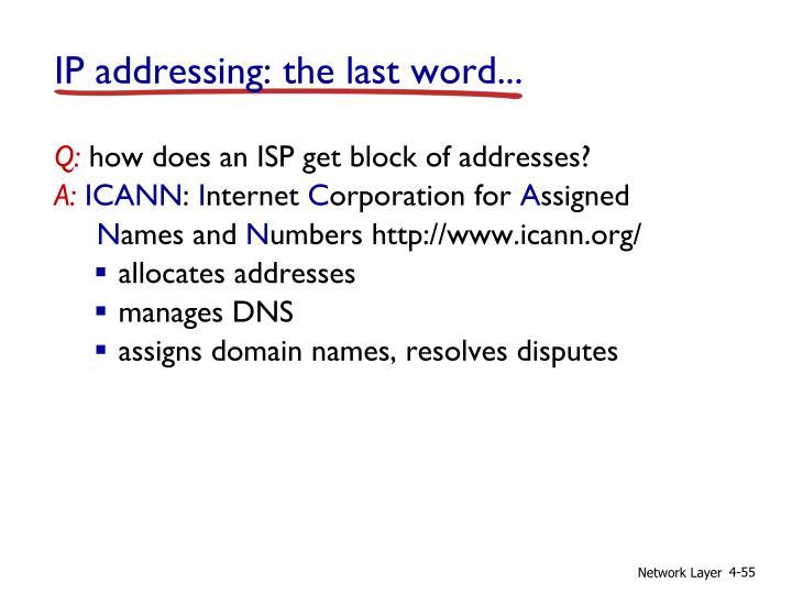 IP addressing: the last word...