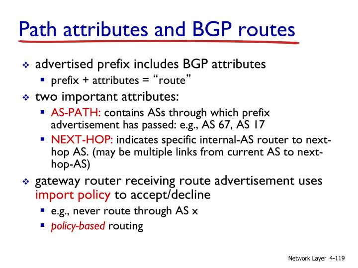 Path attributes and BGP routes
