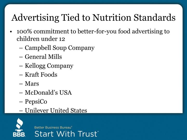 Advertising Tied to Nutrition Standards