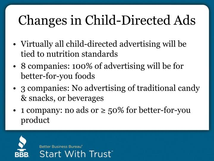 Changes in Child-Directed Ads